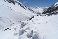 Σύνορα Khunjerab μεταξύ της Κίνας και του Πακιστάν το χειμώνα, Πακιστάν Στοκ εικόνες με δικαίωμα ελεύθερης χρήσης
