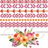 6 σύνορα watercolor για τις συνθέσεις σας + 1 ζωηρόχρωμη ανθοδέσμη φθινοπώρου με τα φύλλα φθινοπώρου, ανθίζουν, ρόδι, μούρα και φ ελεύθερη απεικόνιση δικαιώματος