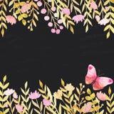 Σύνορα Watercolor με τα λουλούδια και τα φύλλα ελεύθερη απεικόνιση δικαιώματος