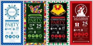 Σύνολα καρτών πρόσκλησης γιορτής Χριστουγέννων διανυσματική απεικόνιση