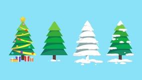 Σύνολα τέχνης σχεδίου χριστουγεννιάτικων δέντρων Στοκ Εικόνα