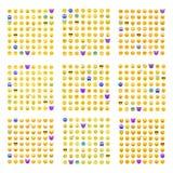9 σύνολα χαριτωμένου smiley emoticons Στοκ φωτογραφίες με δικαίωμα ελεύθερης χρήσης