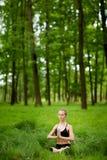Σύνοδος γιόγκας Medetation στα ξύλα Στοκ εικόνες με δικαίωμα ελεύθερης χρήσης