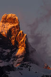 Σύνοδος κορυφής cervino Matterhorn στο ηλιοβασίλεμα Στοκ Εικόνες
