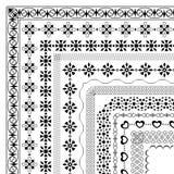 Σύνολο άνευ ραφής γεωμετρικών βουρτσών με τα στοιχεία γωνιών ελεύθερη απεικόνιση δικαιώματος