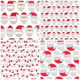 Σύνολο άνευ ραφής διανυσματικής απεικόνισης των προσώπων Santa Στοκ εικόνες με δικαίωμα ελεύθερης χρήσης