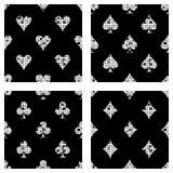 Σύνολο άνευ ραφής διανυσματικού αφηρημένου υποβάθρου σχεδίων με τα εικονίδια της σύστασης Grunge καρτών παιχνιδιών με την τριβή,  απεικόνιση αποθεμάτων