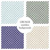 Σύνολο άνευ ραφής διανυσματικών σχεδίων Γεωμετρικά ελεγμένα υπόβαθρα με τα τετράγωνα Σύσταση Grunge με την τριβή, ρωγμές και αμβρ διανυσματική απεικόνιση