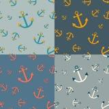 Σύνολο 4 άνευ ραφής ναυτικών σχεδίων με τις άγκυρες Στοκ Εικόνες