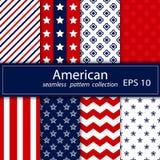 Σύνολο Άνευ ραφής σχέδιο οκτώ στα εθνικά αμερικανικά χρώματα ελεύθερη απεικόνιση δικαιώματος