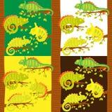 Σύνολο άνευ ραφής σχεδίου με τους χαμαιλέοντες στο δέντρο Διανυσματική απεικόνιση