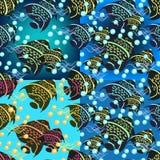 Σύνολο άνευ ραφής σχεδίου angelfish σε ένα μπλε υπόβαθρο διάνυσμα Στοκ εικόνες με δικαίωμα ελεύθερης χρήσης