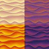 Σύνολο άνευ ραφής σχεδίων με τα ζωηρόχρωμα αφηρημένα κύματα διανυσματική απεικόνιση