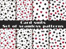 Σύνολο άνευ ραφής σχεδίων με τα κοστούμια καρτών παιχνιδιού Κάρτα αριθμών απεικόνιση αποθεμάτων