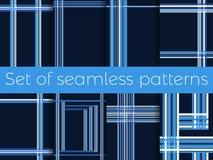 Σύνολο άνευ ραφής σχεδίων με τα λωρίδες σε ένα κλουβί Γραμμές σε ένα μπλε υπόβαθρο διάνυσμα ελεύθερη απεικόνιση δικαιώματος