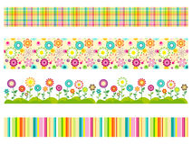 Σύνολο άνευ ραφής σχεδίων λουλουδιών και ζωηρόχρωμων γεωμετρικών συνόρων Στοκ φωτογραφίες με δικαίωμα ελεύθερης χρήσης