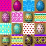 Σύνολο άνευ ραφής σχεδίων σύστασης αυγών Πάσχας Στοκ Εικόνες
