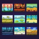 Σύνολο άνευ ραφής τοπίων κινούμενων σχεδίων για το σχέδιο παιχνιδιών Στοκ Εικόνες