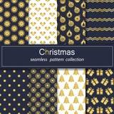 Σύνολο Άνευ ραφής υπόβαθρα με τα παραδοσιακά σύμβολα των Χριστουγέννων και του νέου έτους διανυσματική απεικόνιση