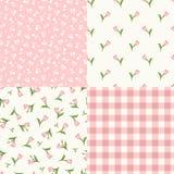 Σύνολο άνευ ραφής floral ρόδινων και άσπρων σχεδίων επίσης corel σύρετε το διάνυσμα απεικόνισης Στοκ εικόνα με δικαίωμα ελεύθερης χρήσης