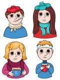 Σύνολο άρρωστων παιδιών Στοκ Εικόνες