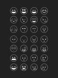 Σύνολο άσπρης περίληψης emoticon Στοκ Εικόνες
