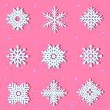 σύνολο άσπρο snowflake Στοκ εικόνα με δικαίωμα ελεύθερης χρήσης