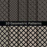 Σύνολο δέκα άνευ ραφής διανυσματικών γεωμετρικών σχεδίων Στοκ εικόνα με δικαίωμα ελεύθερης χρήσης