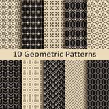 Σύνολο δέκα άνευ ραφής μονοχρωματικών γεωμετρικών σχεδίων Στοκ Εικόνα