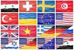 Σύνολο δέκα έξι διαφορετικές εθνικές μεγάλες σημαίες Στοκ Εικόνες