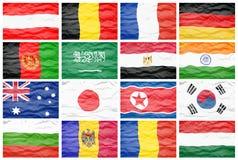 Σύνολο δέκα έξι μεγάλες διαφορετικές εθνικές σημαίες Στοκ Φωτογραφία