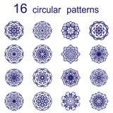 Σύνολο δέκα έξι mandalas διανυσματική απεικόνιση