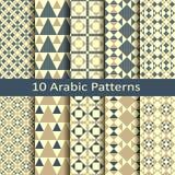 Σύνολο δέκα διανυσματικών αραβικών γεωμετρικών σχεδίων Στοκ φωτογραφίες με δικαίωμα ελεύθερης χρήσης