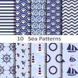 Σύνολο δέκα σχεδίων θάλασσας Στοκ Εικόνες
