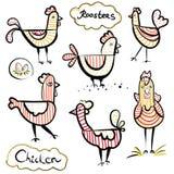 Σύνολο ένα συρμένων χέρι κοκκόρων και κοτόπουλων Απεικόνιση Scetch Ριγωτή διακόσμηση Στοκ Φωτογραφίες