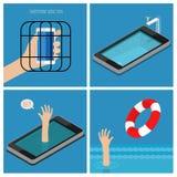 Σύνολο έννοιας εθισμού Smartphone ελεύθερη απεικόνιση δικαιώματος