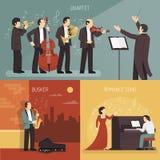 Σύνολο έννοιας σχεδίου μουσικών ελεύθερη απεικόνιση δικαιώματος