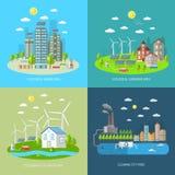 Σύνολο έννοιας σχεδίου πόλεων Eco Στοκ φωτογραφίες με δικαίωμα ελεύθερης χρήσης