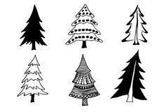 Σύνολο δέντρου δέντρων doodles Στοκ εικόνα με δικαίωμα ελεύθερης χρήσης