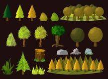 Σύνολο δέντρων κινούμενων σχεδίων, απεικόνιση Στοκ φωτογραφία με δικαίωμα ελεύθερης χρήσης