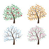 Σύνολο δέντρων τέσσερις εποχές διανυσματική απεικόνιση