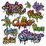 Σύνολο λέξης γκράφιτι διανυσματική απεικόνιση