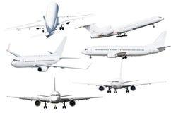 Σύνολο έξι αεροσκαφών που απομονώνεται από το υπόβαθρο Στοκ Εικόνες