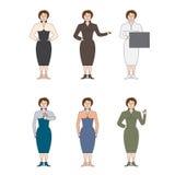 Σύνολο έξι επιχειρησιακών γυναικών διανυσματική απεικόνιση