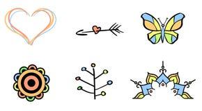 Σύνολο έξι δερματοστιξιών Στοκ Εικόνες