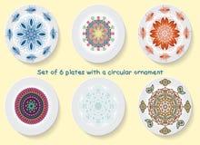 Σύνολο έξι πιάτων με την κομψότητα μιας φυλετικής διακόσμησης, mandala επίσης corel σύρετε το διάνυσμα απεικόνισης Στοκ Εικόνα