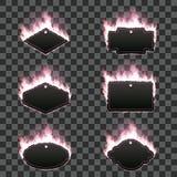 Σύνολο έξι πλαισίων που περιβάλλονται με τη ρόδινη φλόγα Στοκ Εικόνες
