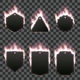 Σύνολο έξι πλαισίων που περιβάλλονται με τη ρόδινη φλόγα Στοκ Φωτογραφίες