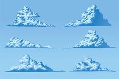 Σύνολο έξι χνουδωτών σύννεφων στοκ φωτογραφίες