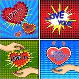 Σύνολο αγάπης Κάρτα ημέρας του βαλεντίνου ύφους Comics Στοκ Εικόνες